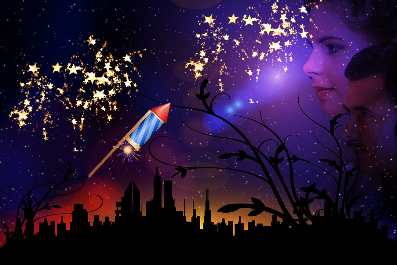 The Remarkable Rocket bedtime story illustration fireworks and skyline