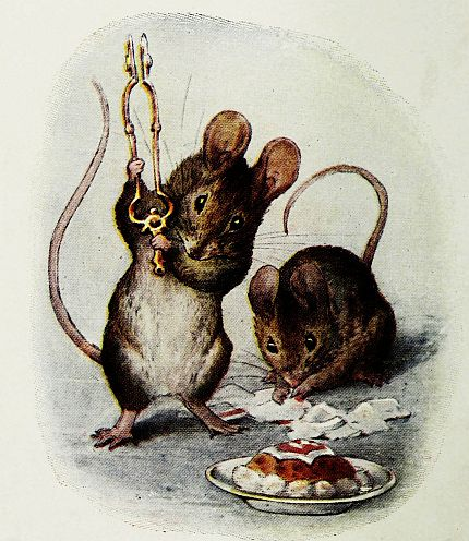Beatrix Potter illustration of Two Bad Mice with cake