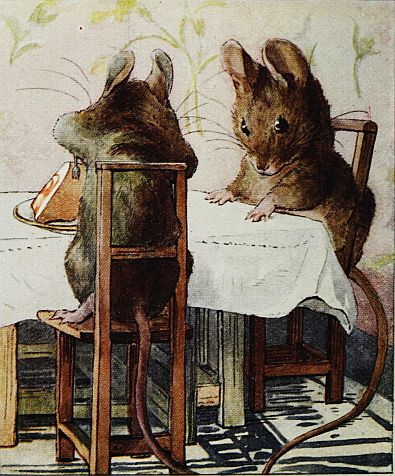 Beatrix Potter children's illustration of mice sitting at dinner table for Two Bad Mice