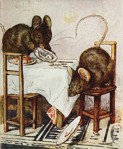 Beatrix Potter children's illustration of mice dropping meal on floor for Two Bad Mice