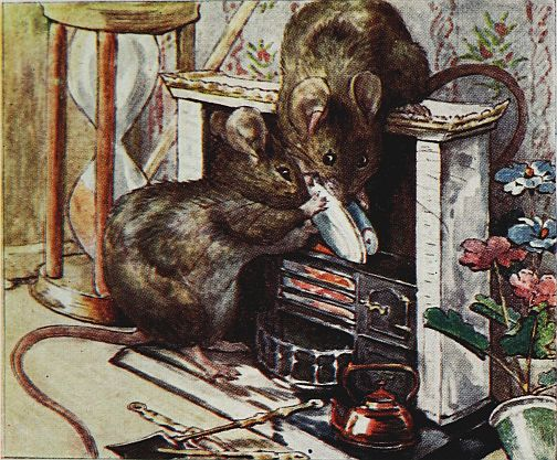 Beatrix Potter children's illustration of mice with fish in cupboard for Two Bad Mice