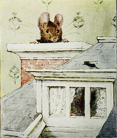 Beatrix Potter children's illustration of mouse in chimney for Two Bad Mice