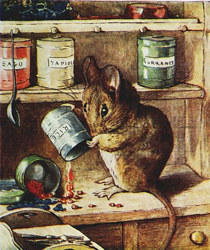 Beatrix Potter children's illustration of mouse makng mess of sugar for Two Bad Mice