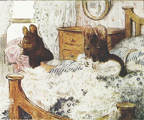 Beatrix Potter children's illustration of mice in bed for Two Bad Mice