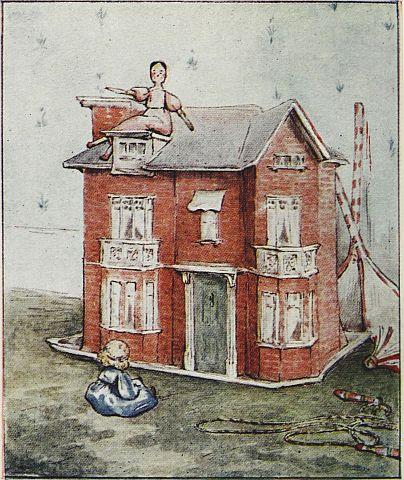 Beatrix Potter children's illustration of dolls house for Two Bad Mice