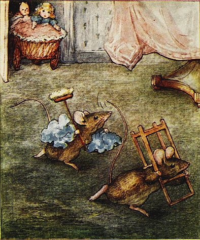 Beatrix Potter children's illustration of mouse carrying broom and gate for Two Bad Mice