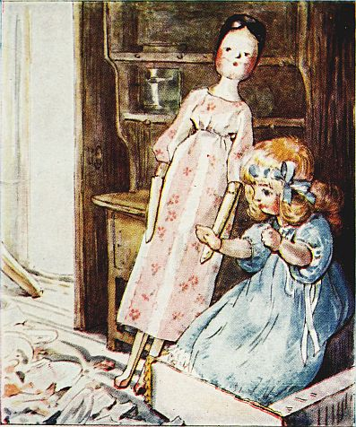 Beatrix Potter children's illustration of dolls in nursery for Two Bad Mice