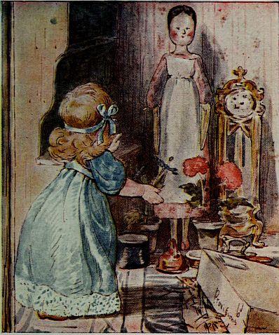 Beatrix Potter children's illustration of dolls talking for Two Bad Mice