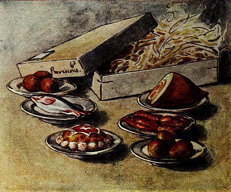 Beatrix Potter children's illustration of cold dinner for Two Bad Mice