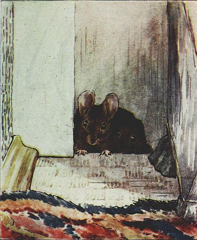 Beatrix Potter children's illustration of little black mouse for Two Bad Mice