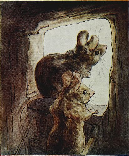 Beatrix Potter children's illustration of mice looking out window for Two Bad Mice