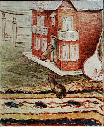 Beatrix Potter children's illustration of mice in dolls house for Two Bad Mice