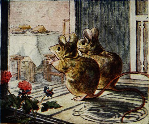 Beatrix Potter children's illustration of mice looking at dinner table for Two Bad Mice