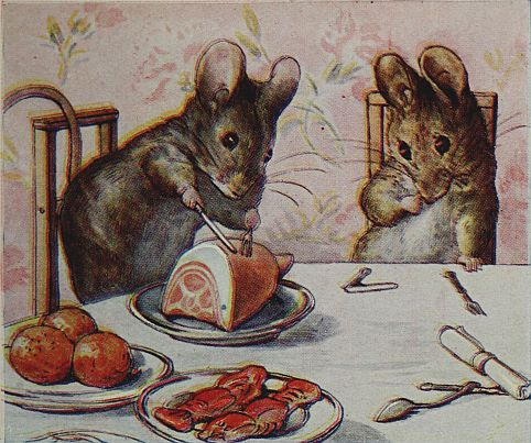 Beatrix Potter children's illustration of mice eating dinner ham for Two Bad Mice