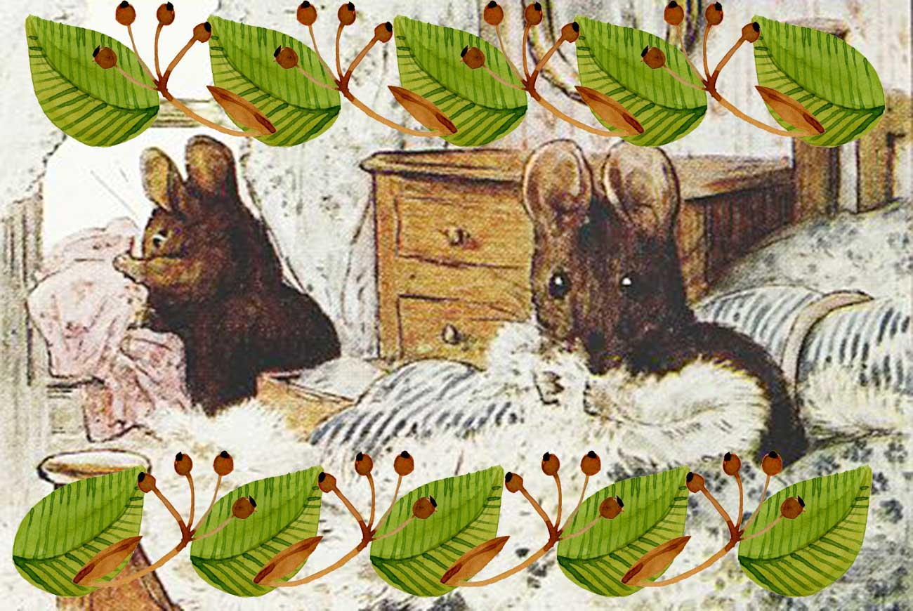 Beatrix Potter children's story illustration of Two Bad Mice