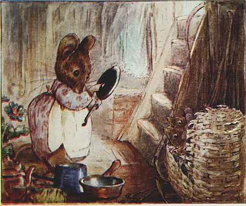 Beatrix Potter children's illustration of mouse with hand mirror for Two Bad Mice