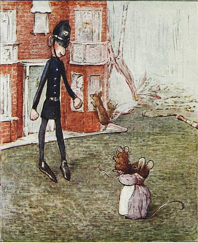 Beatrix Potter children's illustration of mouse and toy policeman for Two Bad Mice