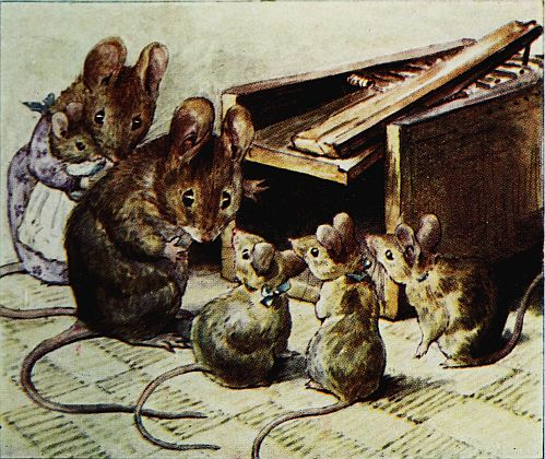 Beatrix Potter children's illustration of mouse family for Two Bad Mice