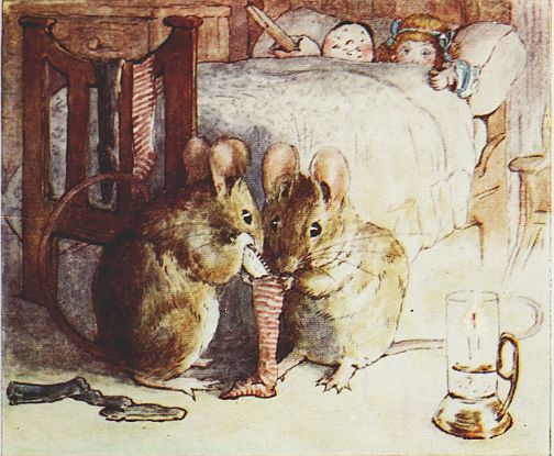 Beatrix Potter children's illustration of mouse family iin bedroom with dolls for Two Bad Mice