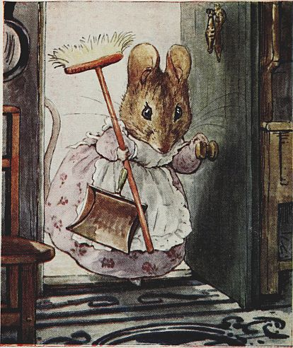 Beatrix Potter children's illustration of mouse with dustpan and broom for Two Bad Mice