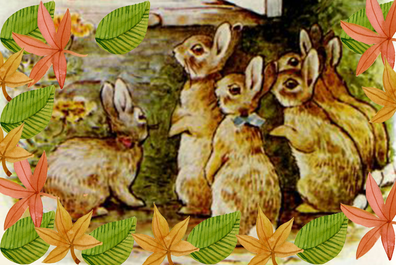 Flopsy Bunnies children's story illustration by Beatrix Potter