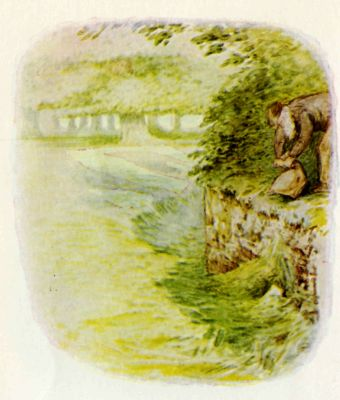 Beatrix Potter illustration Flopsy Bunnies - man with baby rabbits in forest
