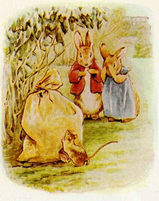 Beatrix Potter illustration Flopsy Bunnies - rabbits and mouse finding paper bag