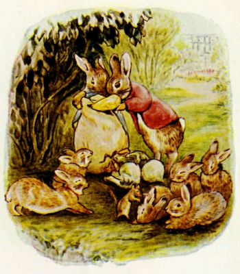 Beatrix Potter illustration Flopsy Bunnies - rabbit family reunited