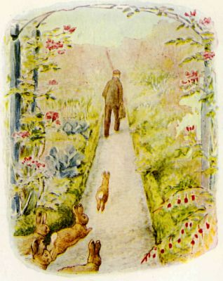 Beatrix Potter illustration Flopsy Bunnies - rabbits following man in garden