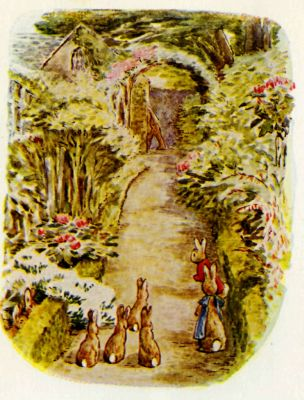 Beatrix Potter illustration Flopsy Bunnies - rabbits in beautiful garden