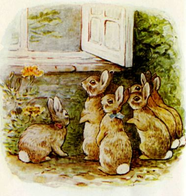 Beatrix Potter illustration Flopsy Bunnies - rabbits look in window