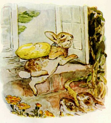Beatrix Potter illustration Flopsy Bunnies - rabbit jumping from house window
