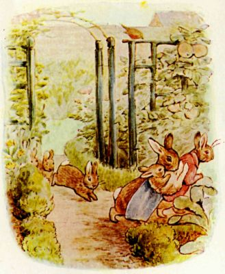 Beatrix Potter illustration Flopsy Bunnies - rabbit rescue in garden