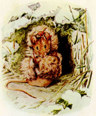 Beatrix Potter illustration Flopsy Bunnies - little dormouse in burrow