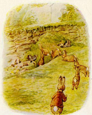Beatrix Potter illustration Flopsy Bunnies - rabbits running on grass