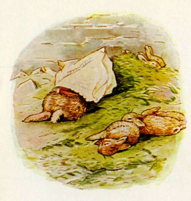 Beatrix Potter illustration Flopsy Bunnies - rabbits play in a paper bag