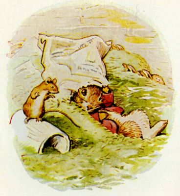 Beatrix Potter illustration Flopsy Bunnies - hiding rabbit and mouse
