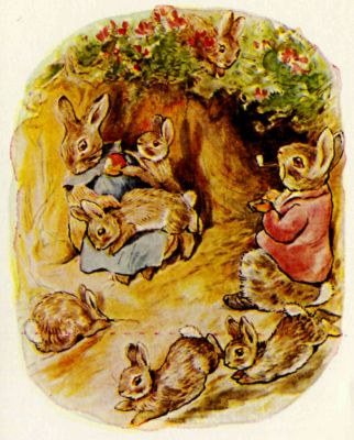 Beatrix Potter illustration Flopsy Bunnies - rabbit family in burrow