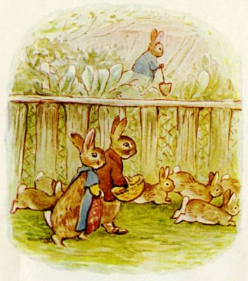 Beatrix Potter illustration Flopsy Bunnies - rabbit family going for a walk