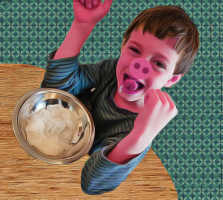 Illustration of boy pink skin turning into pig for kids short story Greedy Pig