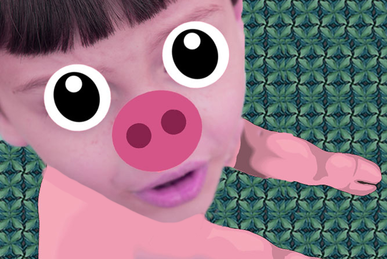 Illustration of boy turning into pig for kids short story Greedy Pig
