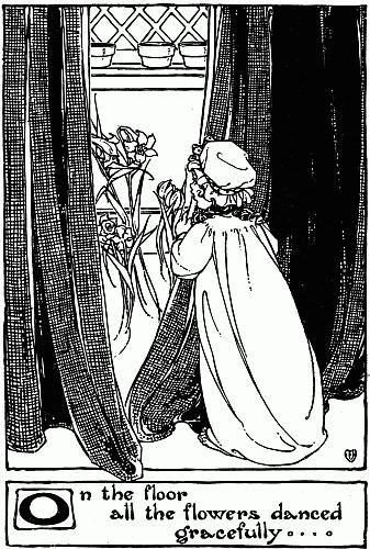 Illustration of little girl at bedtime with flowers for Hans Christian Andersen story Ida's Flowers