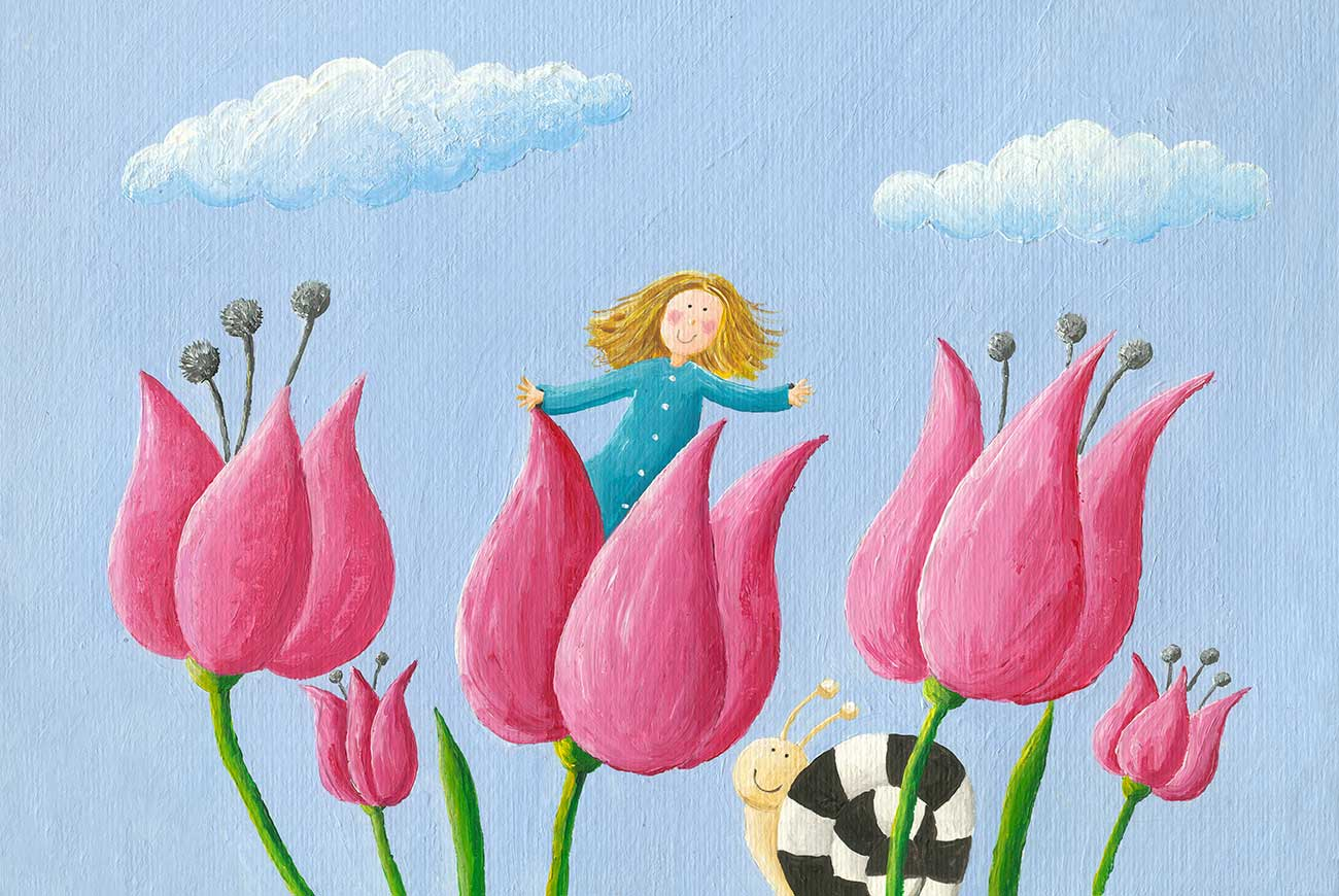Illustration of girl in pink tulips for children's story Little Ida's Flowers