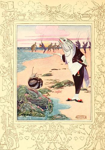 Original children's illustration of Lobster Quadrille from Alice in Wonderland