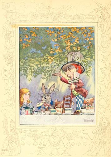 Original children's illustration of Mad Hatter from Alice in Wonderland