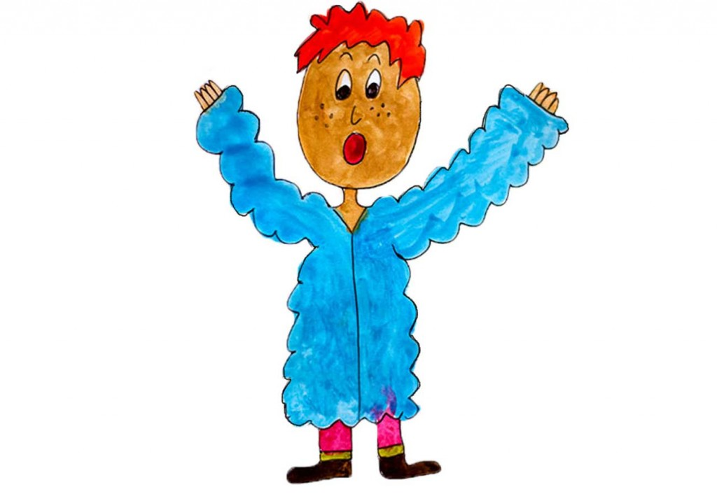 Kids illustration for short story mystery - blue jacket too big