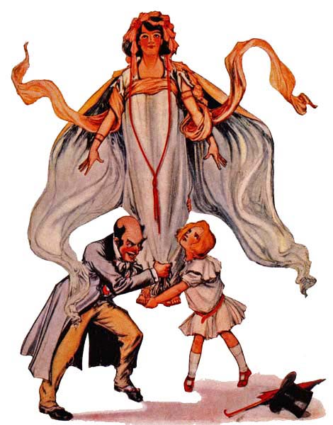Vintage children's illustration of Dorothy and the Wizard picking the princess