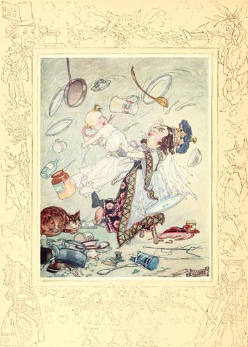 Original children's illustration of Shake Him When He Sneezes from Alice in Wonderland