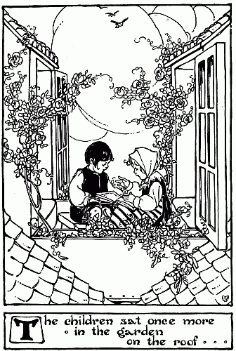Bedtime stories by Hans Christian Andersen - Snow Queen illustration of children playing in window