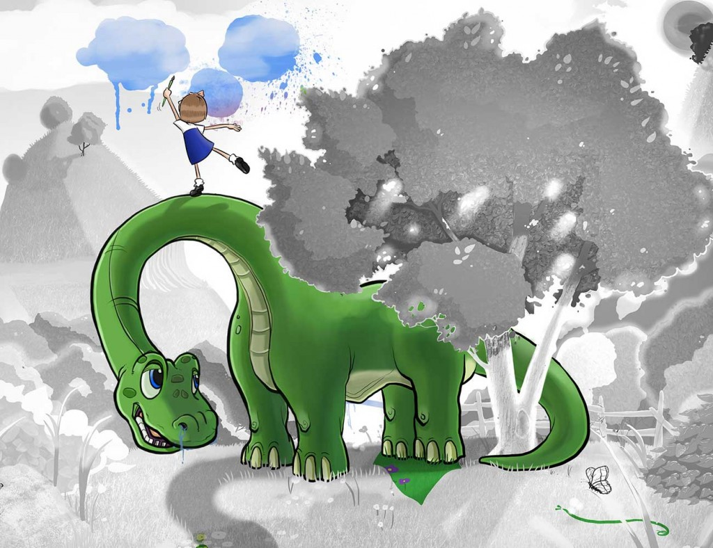 Kids illustration from short story Sticks Masterpiece by Brothers Whim - girl painting on green dinosaur